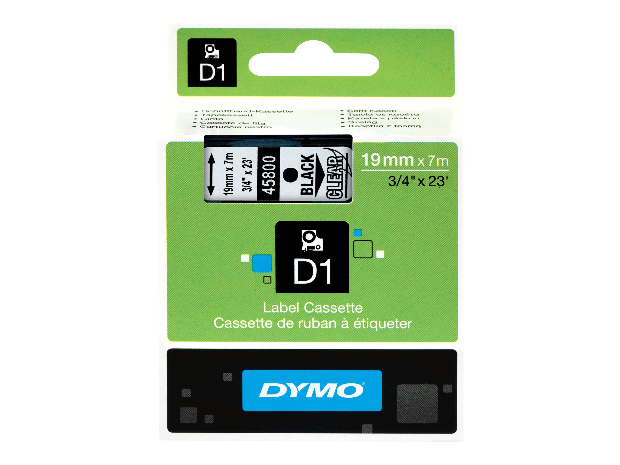 Dymo d1 selbstklebend schwarz auf transparent rolle 1 9 cm x 7 m 1 rolle n etikettenband fuer labelmanager 360 400 420 450 500 pc pc2 wireless pnp labelpoint 300 350 196758 s0720820