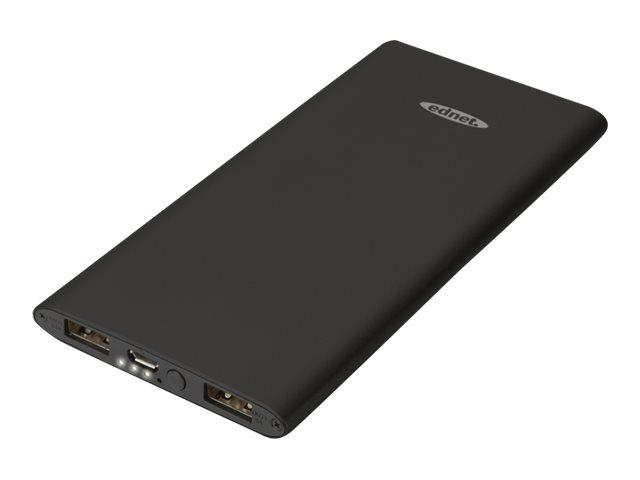 Ednet slim line aluminium powerbank 5000 mah 2 1 a 2 ausgabeanschlussstellen usb auf kabel micro usb 7608309 31899