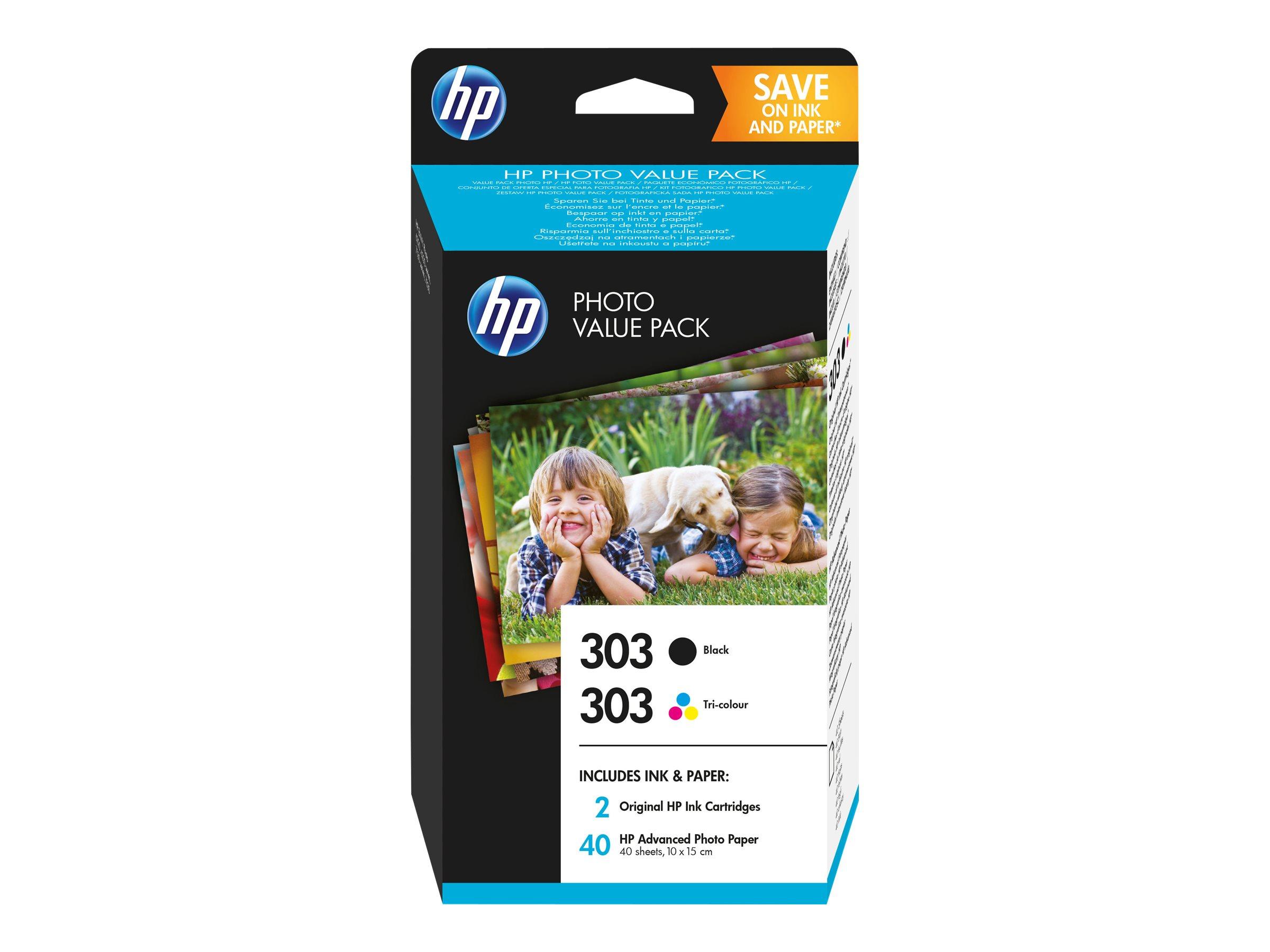 Hp 303 photo value pack glaenzend 2er pack 4 ml schwarz farbe cyan magenta gelb blisterverpackung 7855685 z4b62ee 301