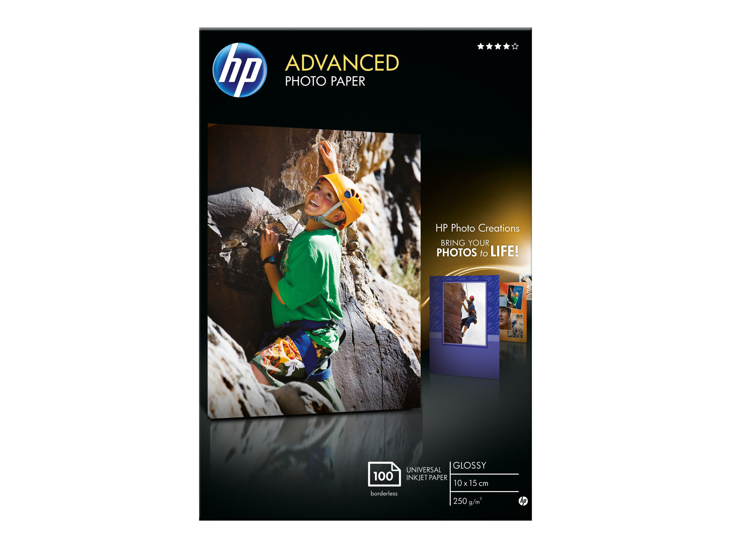Hp advanced glossy photo paper glaenzend 100 x 150 mm 250 g m 100 blatt fotopapier fuer deskjet 2622 envy 50xx 76xx officejet 52xx 80xx photosmart b110 wireless b110 294422 q8692a