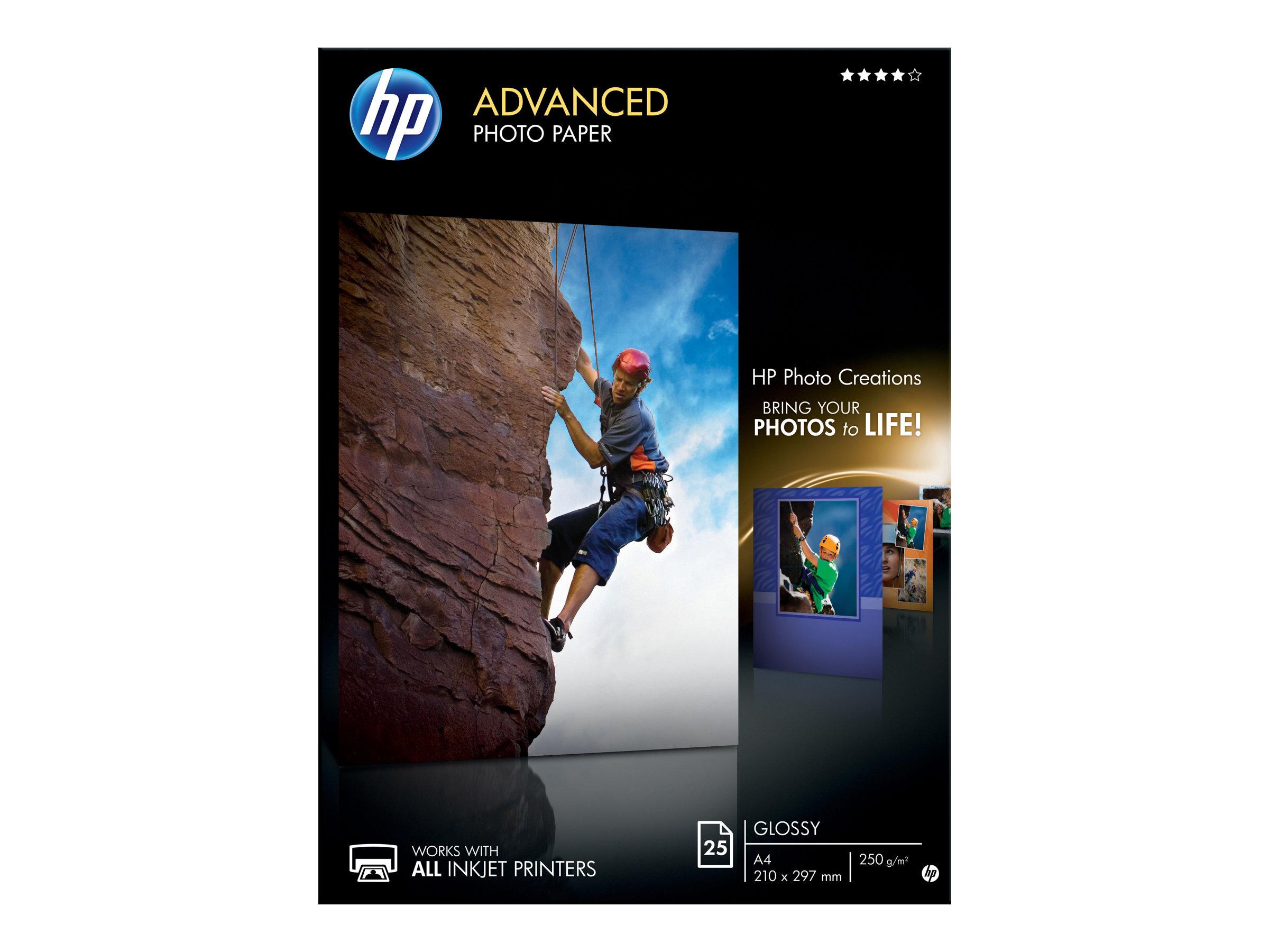 Hp advanced glossy photo paper glaenzend a4 210 x 297 mm 250 g m 25 blatt fotopapier fuer officejet 80xx photosmart b110 wireless b110 smart tank plus 55x 571 655 19509 q5456a
