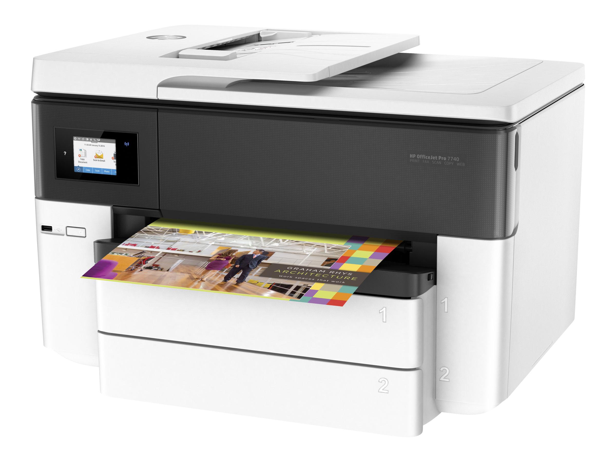 Hp officejet pro 7740 all in one multifunktionsdrucker farbe tintenstrahl a3 ledger 297 x 432 mm original a3 medien 6187483 g5j38a a80