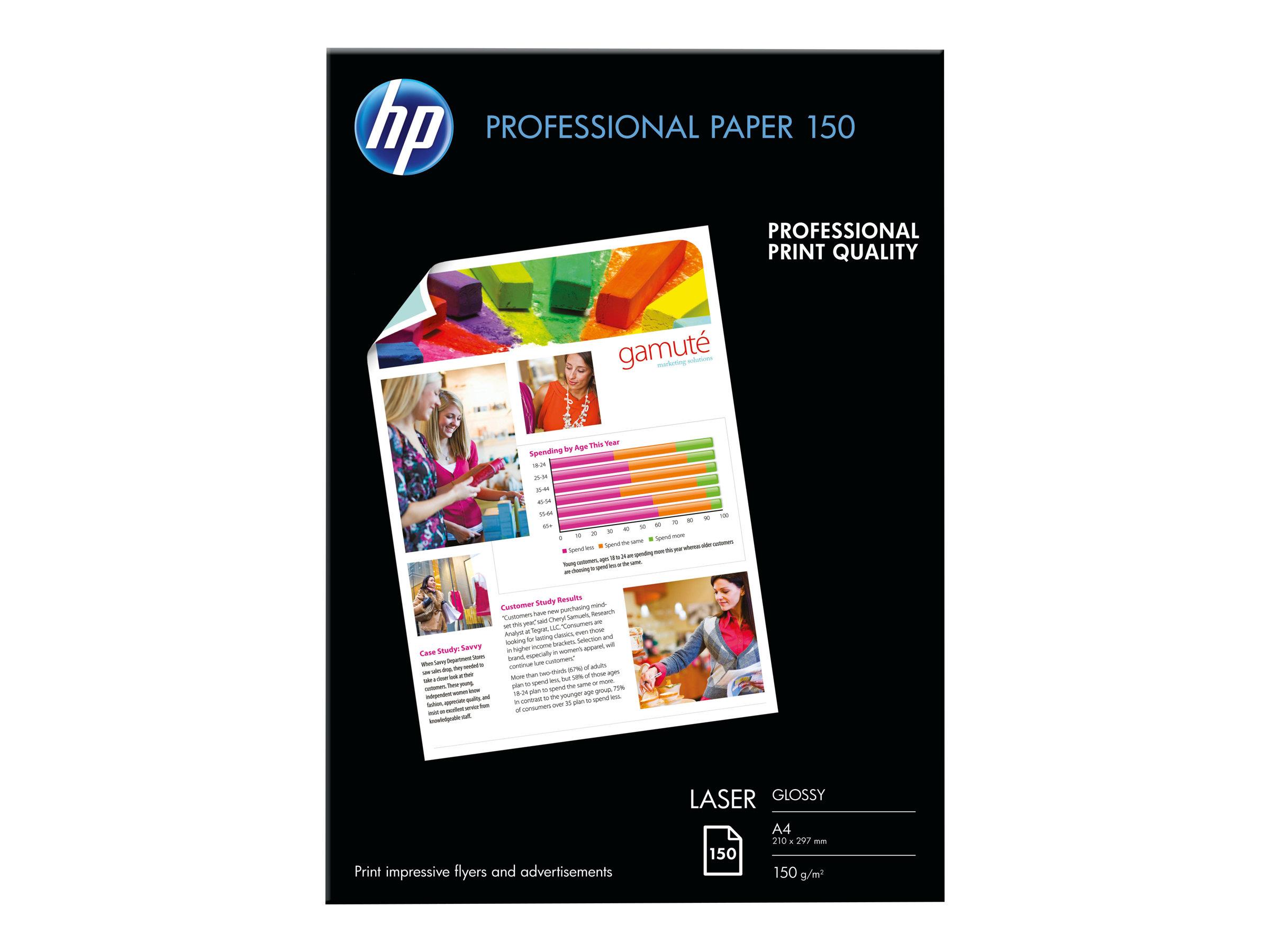 Hp professional glossy paper glaenzend a4 210 x 297 mm 150 g m 150 blatt fotopapier fuer laserjet mfp m42625 mfp m438 mfp m442 mfp m443 neverstop 1001 1202 1493248 cg965a