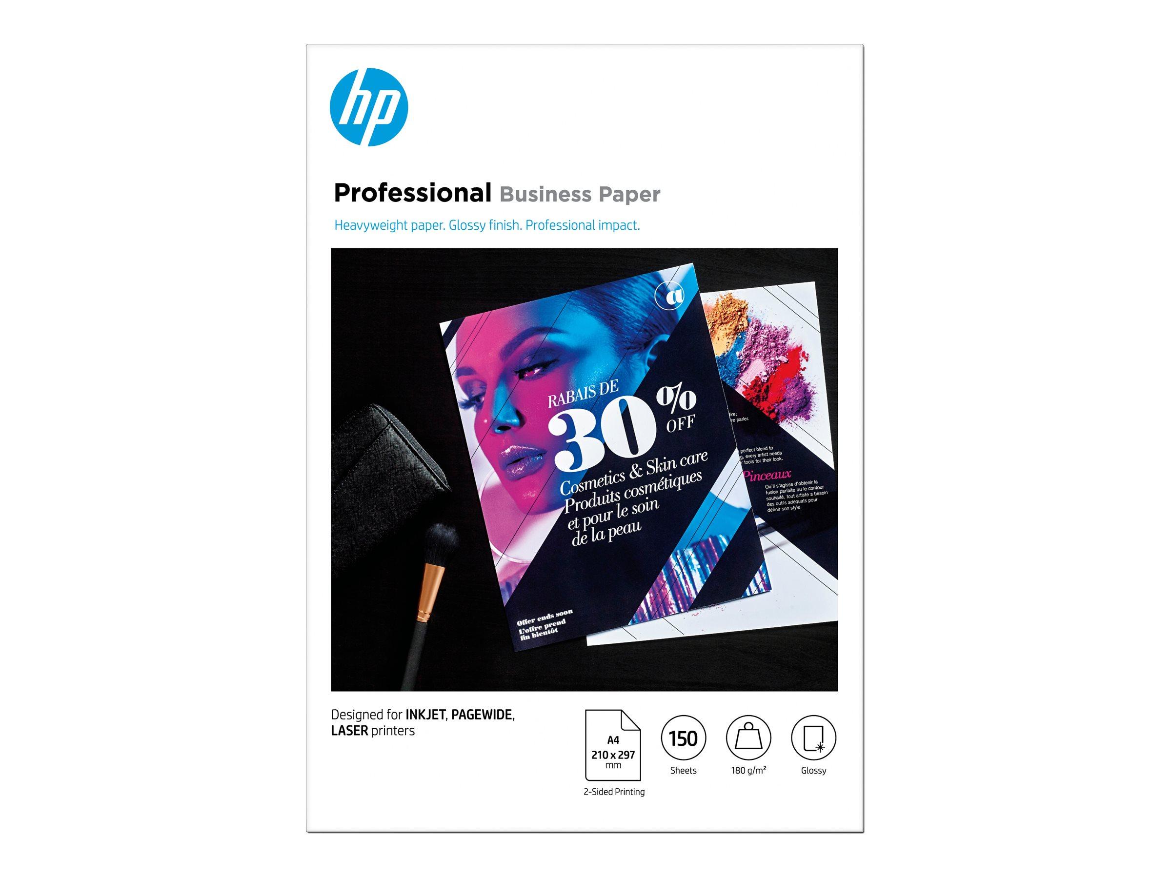 Hp professional glossy paper glaenzend a4 210 x 297 mm 180 g m 150 blatt fotopapier 11992687 3vk91a