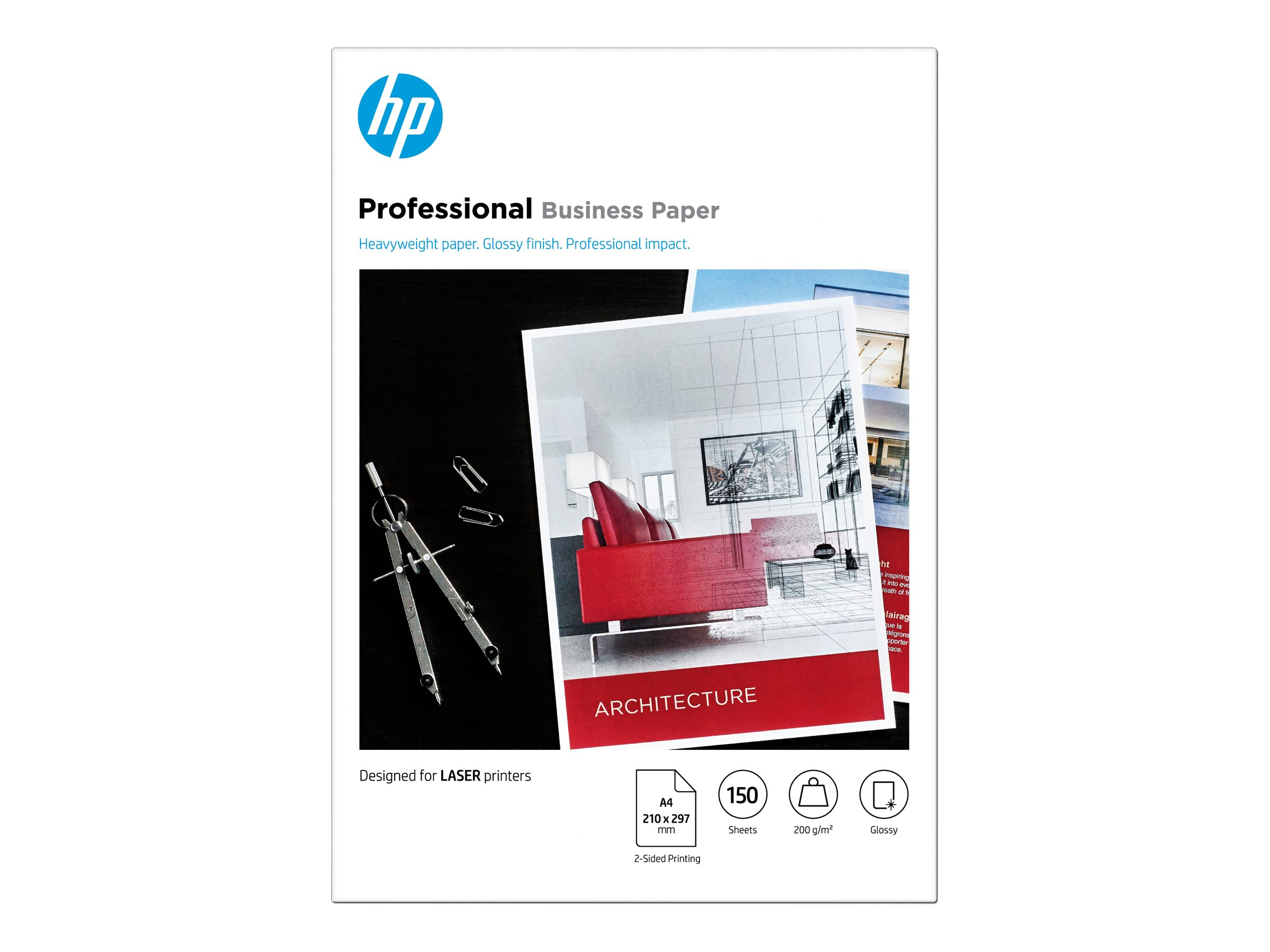 Hp professional glossy paper glaenzend a4 210 x 297 mm 200 g m 150 blatt fotopapier 11992692 7mv83a