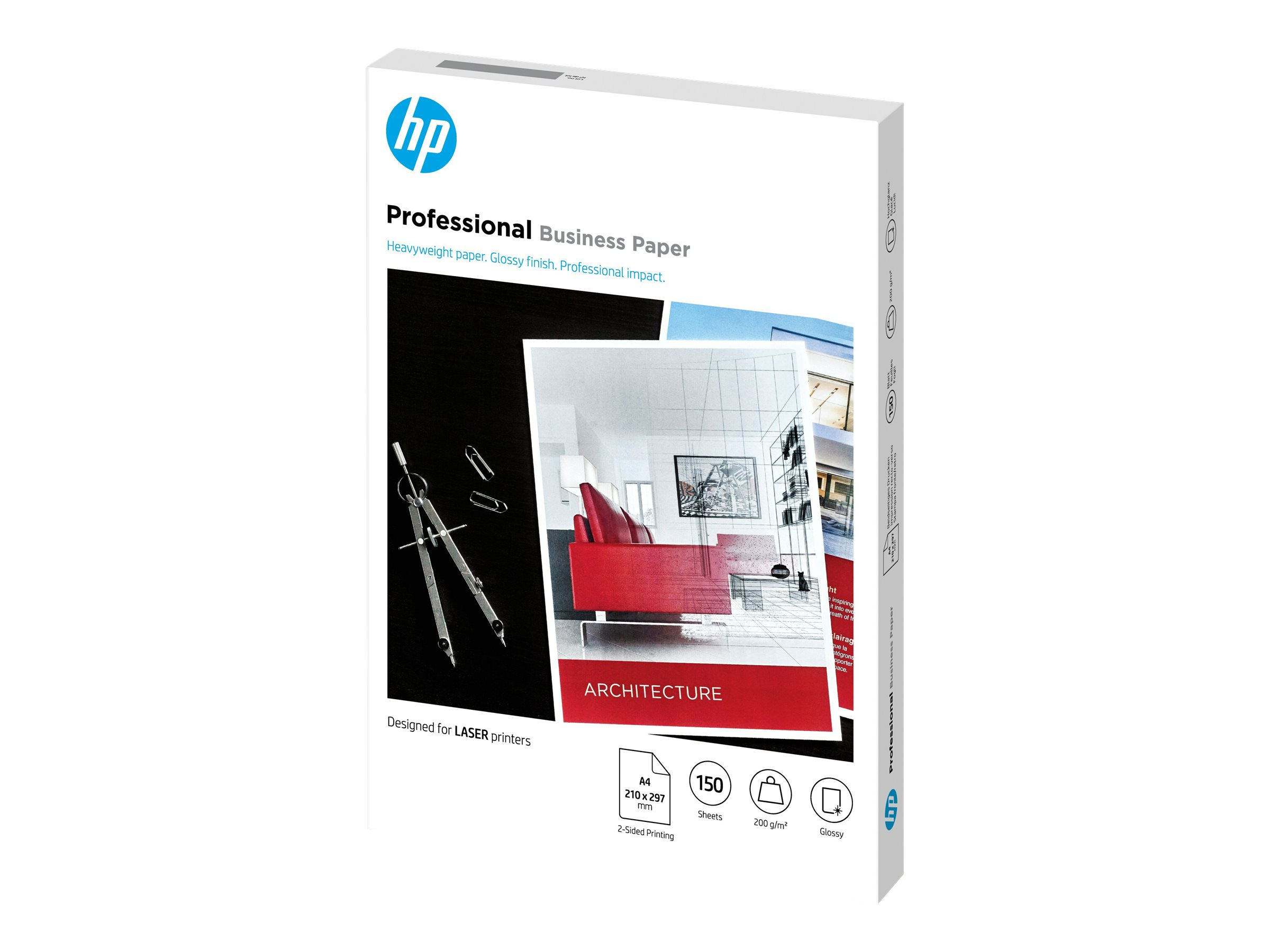 Hp professional glossy paper glaenzend a4 210 x 297 mm 200 g m 150 blatt fotopapier fuer laserjet mfp m42625 mfp m438 mfp m442 mfp m443 neverstop 1001 1202 11992692 7mv83a