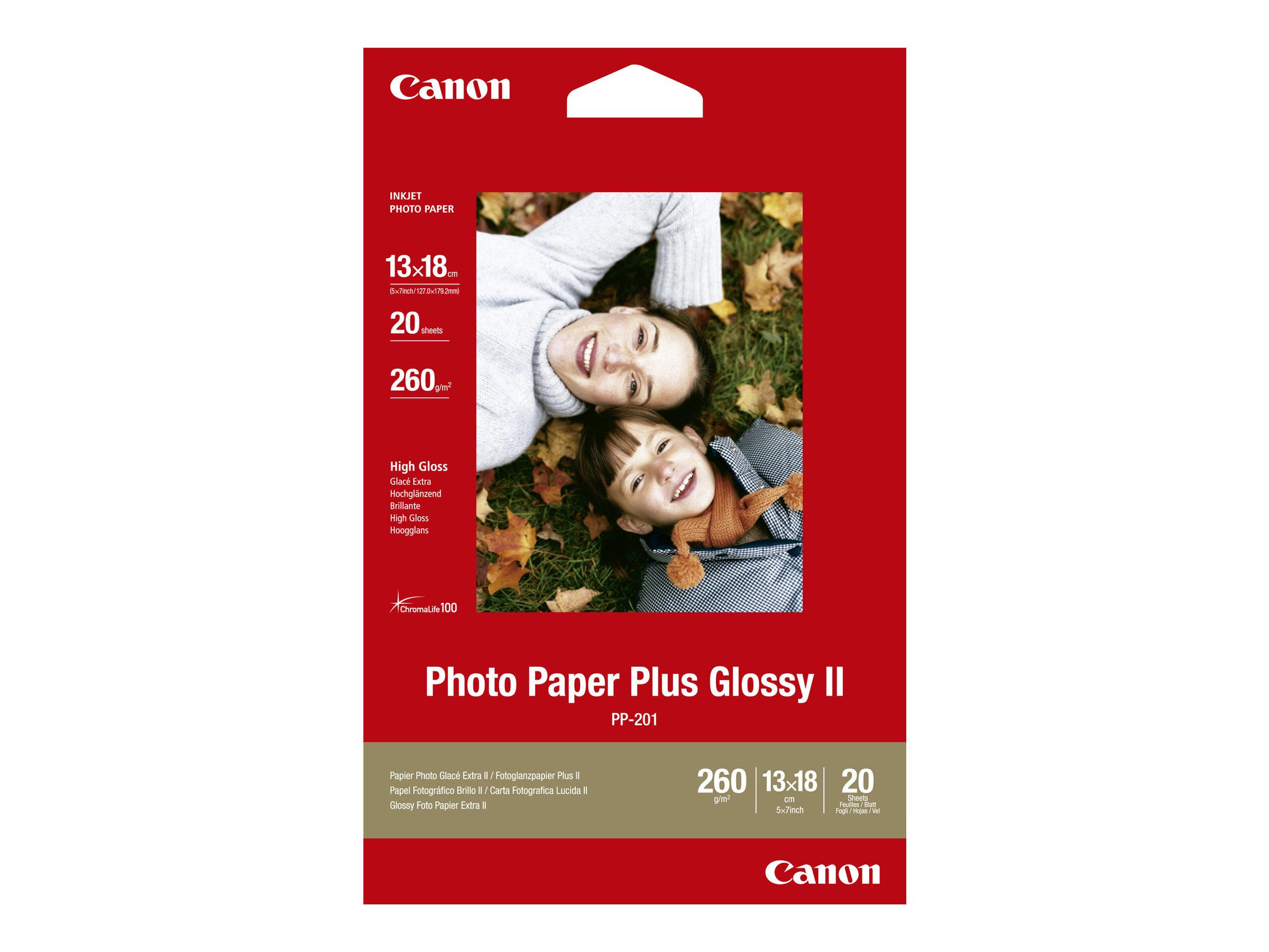Photo paper plus glossy ii pp 201 glaenzend 130 x 180 mm 260 g m 20 blatt fotopapier fuer pixma ip2700 ix7000 mg2555 mp210 mp520 mp610 mp970 mx300 mx310 mx700 mx850 805462 2311b018