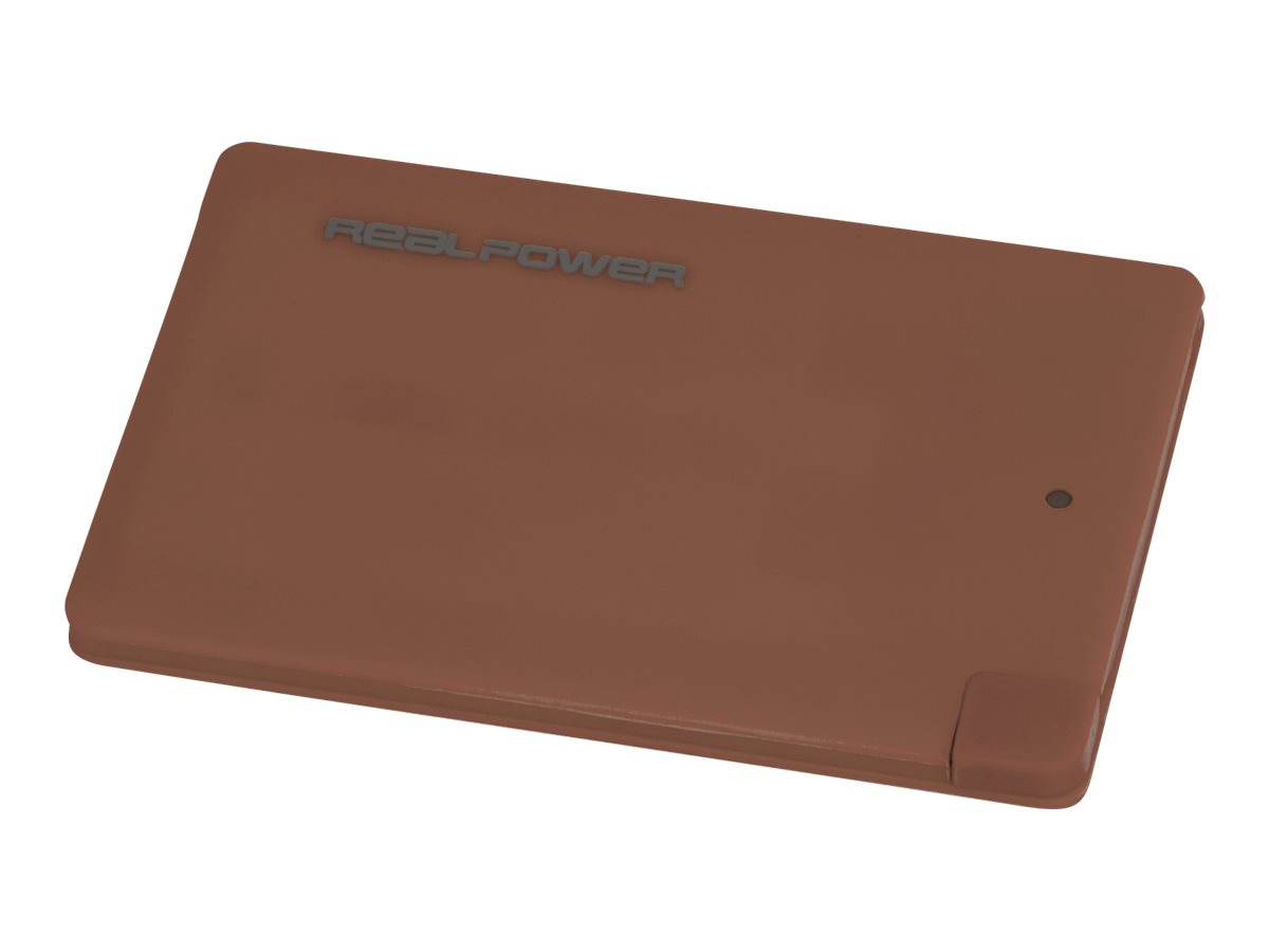 Realpower pb 2500 slim powerbank 2500 mah 1000 ma micro usb typ b auf kabel lightning marsala 5384699 175051