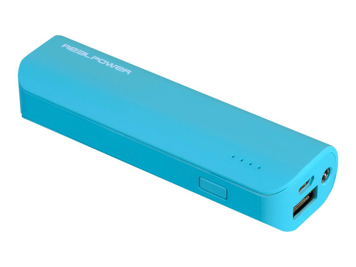 Realpower pb 2600 powerbank 2600 mah 1 a usb auf kabel micro usb blau 4328856 149318