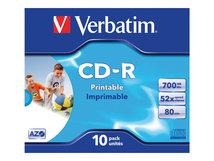 - 10 x CD-R - 700 MB (80 Min) 52x - mit Tintenstrahldrucker bedruckbare Oberfläche, breite bedruckbare Oberfläche - Jewel Case (Schachtel)