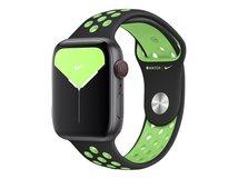 44mm Nike Sport Band - Uhrarmband für Smartwatch - 140-210 mm - Black/Lime Blast - für Watch (42 mm, 44 mm)