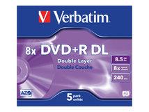 - 5 x DVD+R DL - 8.5 GB (240 Min.) 8x - mattsilber - Jewel Case (Schachtel)