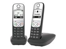 A690 Duo - Schnurlostelefon mit Rufnummernanzeige - ECO DECTGAP - dreiweg Anruffunktion - Schwarz + zusätzliches Handset