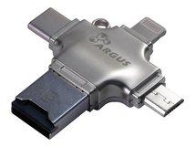 Argus R-010 - Kartenleser (TransFlash, microSD, microSDHC, microSDXC) - Lightning/USB 2.0/USB-C/micro USB