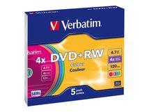 Colours - 5 x DVD+RW - 4.7 GB (120 Min.) 4x - Slim Jewel Case