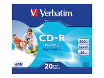 DataLifePlus - 20 x CD-R - 700 MB (80 Min) 52x - mit Tintenstrahldrucker bedruckbare Oberfläche - Slim Jewel Case