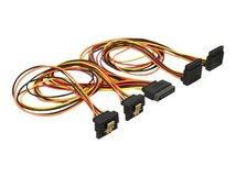 DeLOCK - Netz-Splitter - SATA Leistung (S) eingerastet bis SATA Leistung (R) Metallclip - 3.3 / 5 / 12 V - 50 cm - Schwarz, Gelb, Rot, orange