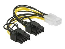 DeLOCK - Stromkabel - 6-poliges PCIe Power (W) bis 8-poliger PCIe Power (6+2) (M) - 12 V - 15 cm - eingerastet