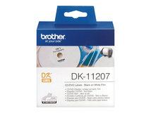 DK-11207 - Schwarz auf Weiß - 100) CD/DVD-Etiketten - für Brother QL-1050, 1060, 500, 550, 560, 570, 580, 600, 650, 700, 710, 720, 820