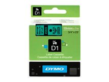 DYMO D1 - Entfernbarer Klebstoff - Schwarz auf Grün - Rolle (1,9 cm x 7 m) 1 Rolle(n) Etiketten - für LabelMANAGER 360, 400, 420, 450, 500, PC, PC2, Wireless PnP; LabelPOINT 300, 350