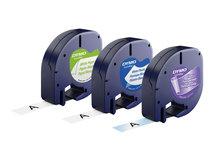 DYMO LetraTAG Starter Pack - Weiß, Silber, Gelb - Rolle (1,2 cm x 4 m) 3 Rolle(n) Etikettband-Set - für LetraTag QX50, XR