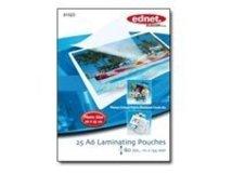 ednet 25 A6 Photo Laminating Pouches 80 Mic - 80 Mikron - 25 - 111 x 154 mm Taschen für Laminierung