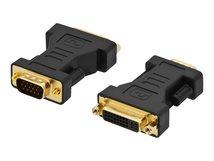 Ednet - DVI-Adapter - Dual Link - DVI-I (W) bis HD-15 (VGA) (M) - geformt - Schwarz