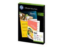 HP 963 Office Value Pack - 3er-Pack - Gelb, Cyan, Magenta - Original - Tintenpatrone / Papierkit - für Officejet Pro 9010, 9012, 9013, 9014, 9015, 9016, 9018, 9019, 9020, 9022, 9023, 9025, 9028