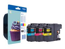 LC123 RainbowPack - 3er-Pack - Hohe Ergiebigkeit - Gelb, Cyan, Magenta - Original - Blister mit akustischem/elektromagnetischem Alarm