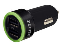 Leitz Complete universelles - Auto-Netzteil - 2.4 A - 2 Ausgabeanschlussstellen (2 x USB) - Schwarz