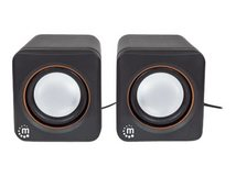 Manhattan 2600 Series Speaker System, Small Size, Big Sound, Two Speakers, Stereo, USB power, Output: 2x 3W, 3.5mm plug for sound, In-Line volume control, Cable 0.9m, Black, Box - Lautsprecher - für PC - 3 Watt - Schwarz
