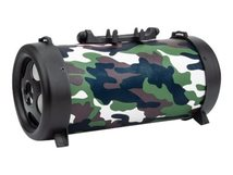 Manhattan Camouflage Bluetooth Speaker (promo), 3 hour Playback time, FM Radio, Range 10m, microSD card reader (32GB), Aux 3.5mm connector, Output 3W, USB-A charging cable included (5V charging), 1200mAH battery, Bluetooth v5, Boxed - Lautsprecher - tragbar - kabellos - Bluetooth - 3 Watt