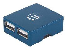 Manhattan USB-A 4-Port Micro Hub, 4x USB-A Ports, 480 Mbps (USB 2.0), Bus Power, Hi-Speed USB, Blue, Three Year Warranty, Blister - Hub - 4 x USB 2.0 - Desktop