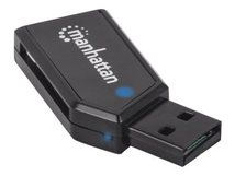 Manhattan USB-A Mini Multi-Card Reader/Writer, 480 Mbps (USB 2.0), 24-in-1, Windows or Mac, Black, Blister - Kartenleser - 24 in 1 (MMC, SD, RS-MMC, MMCmobile, microSD, MMCplus, SDHC, microSDHC, SDXC, microSDXC) - USB 2.0