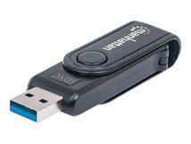 Manhattan USB-A Mini Multi-Card Reader/Writer, 5 Gbps (USB 3.2 Gen1 aka USB 3.0), 24-in-1, Windows or Mac, Black, Blister - Kartenleser - 24 in 1 (MMC, SD, RS-MMC, MMCmobile, microSD, SDHC, microSDHC, SDXC, microSDXC) - USB 3.0