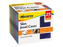 Memorex - Slim Jewel Case für Speicher-CD - Kapazität: 1 CD - Blau, Gelb, lila, Rot, grün (Packung mit 25)