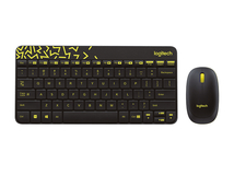 MK240 Nano, Standard, Kabellos, RF Wireless, QWERTY, Black, Gelb, Maus enthalten