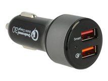 Navilock - Auto-Netzteil - 3 A - Quick Charge 3.0 - 2 Ausgabeanschlussstellen (USB) - Schwarz