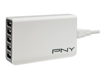 PNY Multi-USB Charger - Netzteil - 25 Watt - 2.1 A - 5 Ausgabeanschlussstellen (USB) - Europäische Union