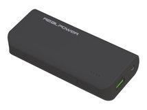 Realpower PB-4000 - Powerbank - 4000 mAh - 2400 mA (USB) - auf Kabel: Micro-USB - Schwarz