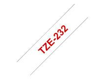 TZe-232 - Standard-Klebstoff - Rot auf Weiß - Rolle (1,2 cm x 8 m) 1 Rolle(n) laminiertes Band - für Brother PT-D210, D600, H110; P-Touch PT-1005, 1880, E800, H110; P-Touch Cube Plus PT-P710