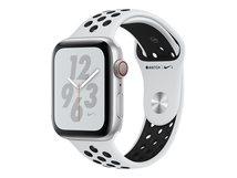Watch Nike+ Series 4 (GPS) - 44 mm - Aluminium, Silber - intelligente Uhr mit Nike Sportband - Flouroelastomer - pures Platin/schwarz