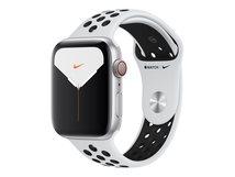 Watch Nike Series 5 (GPS + Cellular) - 44 mm - Aluminium, Silber - intelligente Uhr mit Nike Sportband - Flouroelastomer - pures Platin/schwarz
