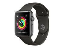 Watch Series 3 (GPS) - 38 mm - Weltraum grau Aluminium - intelligente Uhr mit Sportband - Flouroelastomer - schwarz