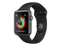 Watch Series 3 (GPS) - 42 mm - Weltraum grau Aluminium - intelligente Uhr mit Sportband - Flouroelastomer - schwarz