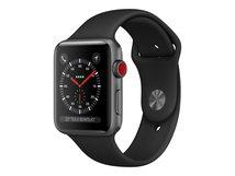 Watch Series 3 (GPS + Cellular) - 38 mm - Space grau Aluminium - intelligente Uhr mit Sportband - Flouroelastomer - schwarz