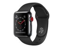 Watch Series 3 (GPS + Cellular) - 38 mm - Weltraum grau Aluminium - intelligente Uhr mit Sportband - Flouroelastomer - schwarz