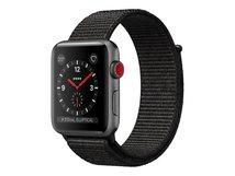 Watch Series 3 (GPS + Cellular) - 38 mm - Weltraum grau Aluminium - intelligente Uhr mit Sportschleife - gewebtes Nylon - schwarz