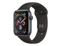 Watch Series 4 (GPS) - 40 mm - Weltraum grau Aluminium - intelligente Uhr mit Sportband - Flouroelastomer - schwarz
