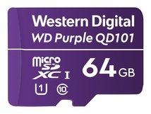WD Purple SC QD101 WDD064G1P0C - Flash-Speicherkarte - 64 GB - UHS-I U1 / Class10 - microSDXC UHS-I - lila